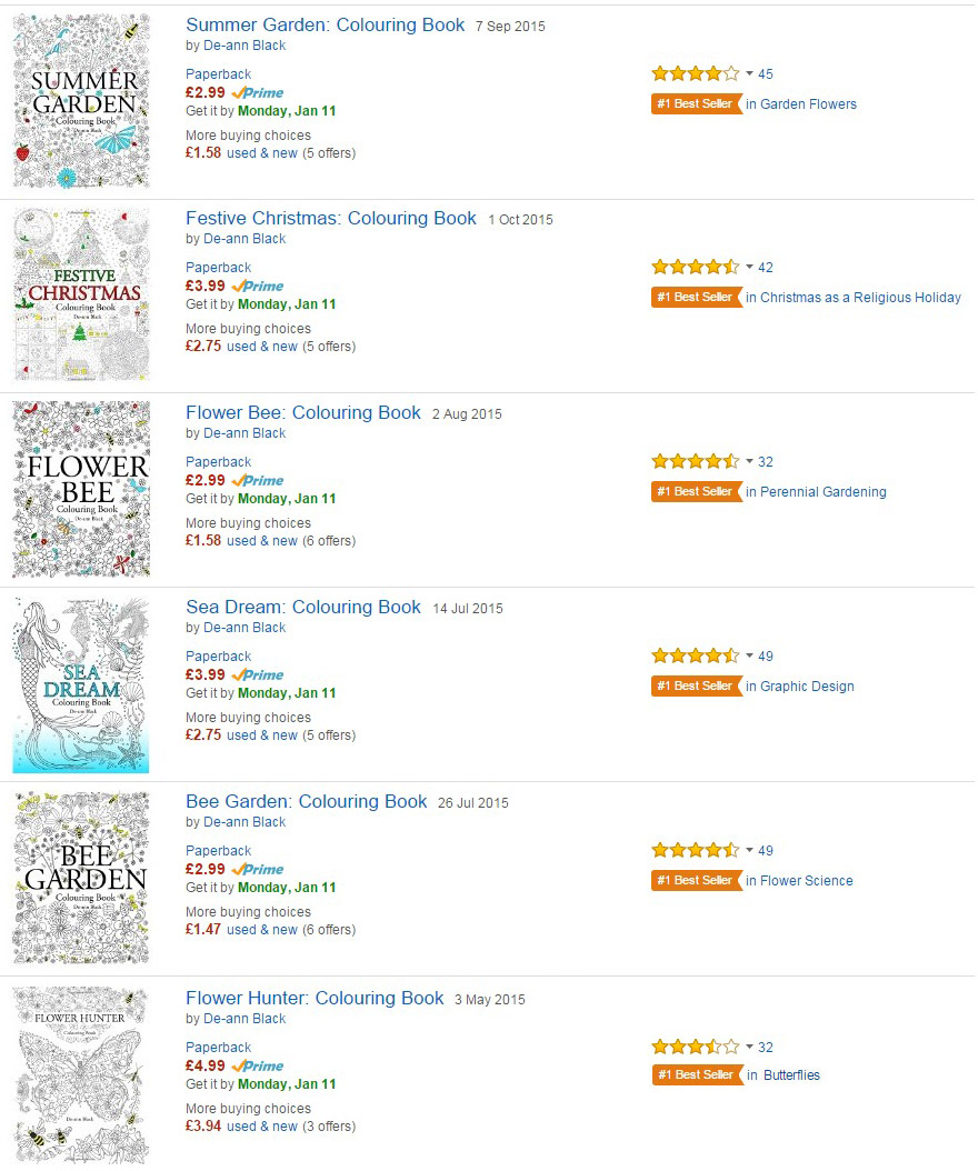 January 2016 And Six Best Selling Colouring Books