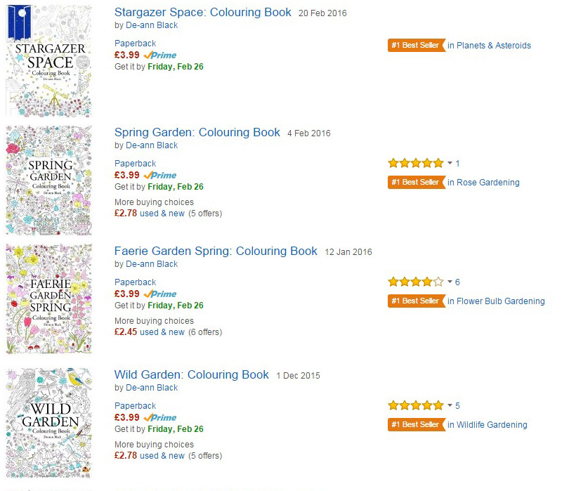Feb 2016 And Four New Best Selling Colouring Books