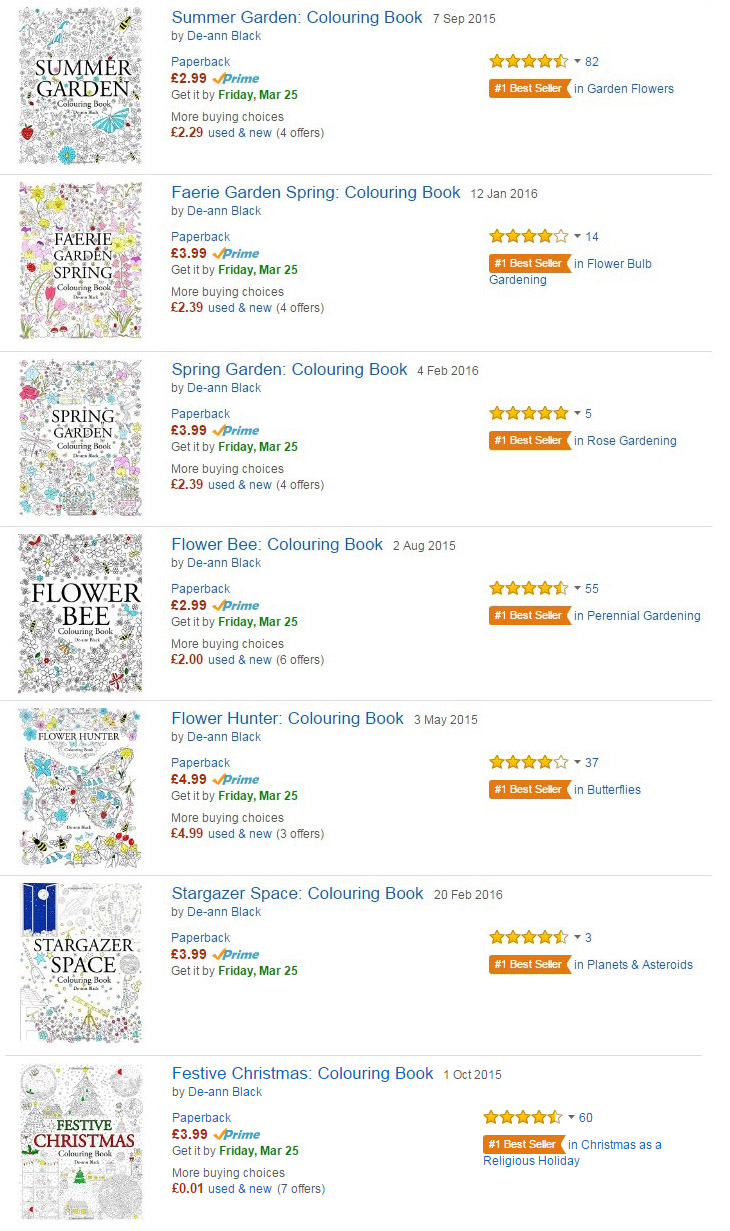 Spring 2016 And Seven Best Selling Colouring Books